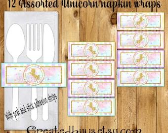 Unicorn Napkin wraps Gold glitter unicorn Baby shower Decorations Unicorn Birthday napkin bands Paper napkin ring holder 12 peel and stick