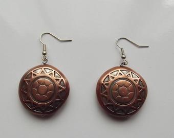 Celtic copper metal earrings