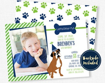 Dog Birthday Invitation, Puppy Dog Birthday Invitation, Boxer Dog Invitation, Puppy Party Invitation, Photo Invitations