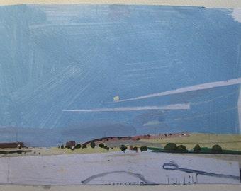 Northbound, Original Autumn Landscape Collage Painting on Paper, Stooshinoff