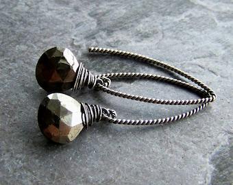 Pyrite Earrings, Wire Wrapped, Organic Jewelry, Rustic Jewelry, Minimalist, Sterling Silver, Oxidized, Gemstone Earrings