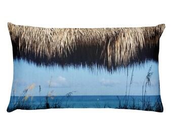 Tropical Ocean View through a Thatch Roof Rectangular Pillow