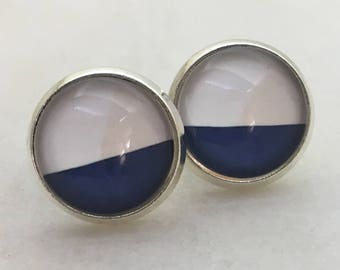Blue and white glass dome stud earrings. 14mm with surgical steel and nickel free posts