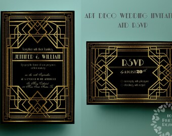 Printable art deco wedding invitation template  gatsby, rsvp, gold, art deco invite template, gatsby invitation template, printable wedding