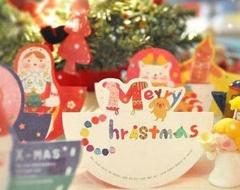 10 Sheets Korea Boxed birthday Cards blessing card -Merry Christmas Christmas Tree