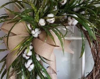 Farmhouse wreath, cotton wreath, farmhouse cotton wreath,rustic wreath, door wreath , everyday wreath  , front door wreath,farmhouse decor,