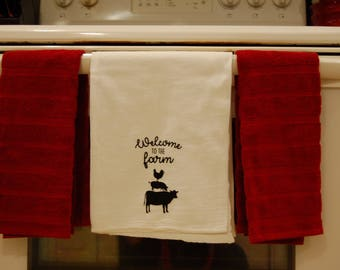 Welcome to the farm- kitchen towel
