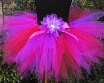 """Girls Tutu, Fuchsia Pink Purple Red Tutu, Bayberry, Custom Sewn 11"""" Pixie Tutu"""
