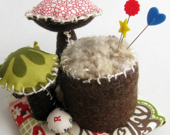Fabric Mushroom Topiary / home decor / floral arrangement / decorative arts / fabric flowers / mushrooms