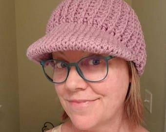 Crochet Ribbed Beanie with Brim