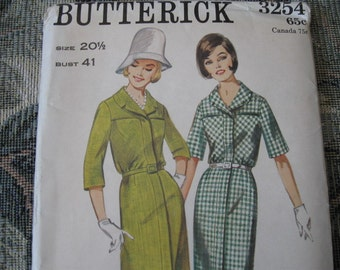 RARE Uncut, Factory Fold Vintage 60's Butterick 3254 Misses Step-In Shirt Dress Size 20 1/2  Bust 41