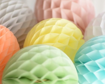 Custom colors - 6 Tissue paper honeycombs set / round paper lanterns-  hanging wedding party decorations