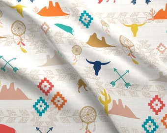 Southwest Fabric - Southwest Nursery By Mrshervi - Southwestern Boho Nursery Cotton Fabric By The Yard With Spoonflower