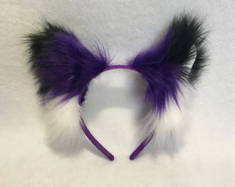 FOX EARS HEADBAND | Violet | Belfry Costume Creations | Handmade Costume Cosplay Faux Fur Furry Anime Goth Rave Accessory Halloween Kitsune