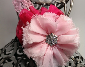 Pink headband, hot pink and light pink flower on pink lace headband, headband for girls, pink hair flower, pink hair accessory with bling.