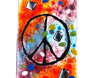 Night Light, fused glass, Hand Made, Groovy Peace sign, nightlight fixture, Tie dye colors, Glass night light, art glass, wall light,