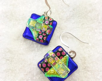 Fused dichroic glass earrings, glass jewelry, dichroic earrings, Hana Sakura, handmade jewelry, blue earrings, glass jewelry, dichroic glass
