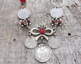 Gypsy Coin Necklace Vintage Kuchi pieces, Tribal Infusion, Metal Assemblage Lampwork Beads Traditional Vintage Finds