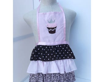 Pink and brown ruffle apron