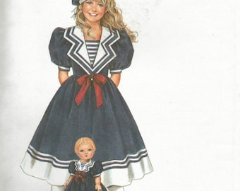 "Vintage Simplicity 7084 UNCUT Daisy Kingdom Girls Sailor Dress and Matching 17"" Doll  Pattern - Sizes 12-14"