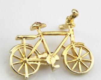 2 pcs of Metal bike charm pendant with rhinestone-pink-MP1206-18k gold