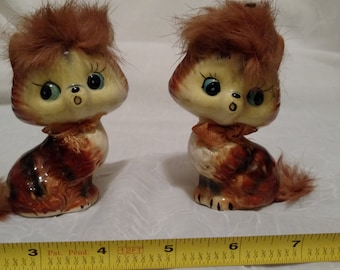Blue Eyed Tabby Cat Kitten Salt and Pepper Shakers with Fur Made in Japan