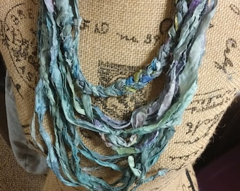 ONLY ONE Silk Sari Scarf in Blues, Grays, Greens, etc