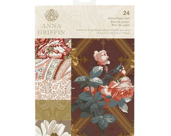 Anna Griffin 5 x 7 Paper Pad Alexis, Vintage Style Cardstock, Statement Scrapbooking, Rich Vintage Floral Print