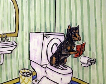 25% off Doberman Pinscher, bathroom art , doberman print  print modern dog art bathroom gift