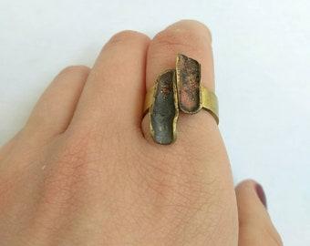 Handmade bronze ring, patina, heat treated, one of a kind