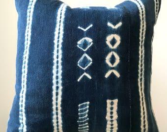 18 x 18 Indigo Mudcloth Pillowcase