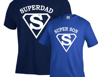 Father son matching shirts, fathers day gift, Super dad and super son shirts, new dad gift