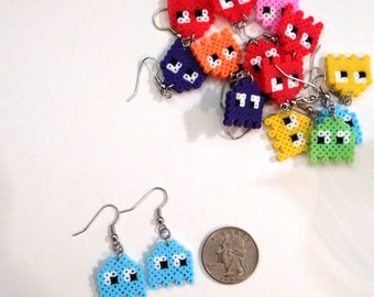 PacMan inspired earrings, PacMan Ghost earrings, Gamer Girl Earrings, Geeky Girl Earrings, Video Game Jewelry, 8 bit Video Game Gifts