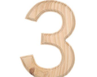 "6"" Blank Unfinished Wooden Number 3 (Three)"