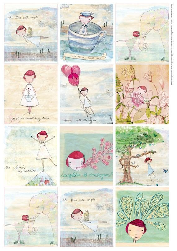 Lovely Camille Tags, instant Digital Download, Set of 12 tags, illustrations, clipart, scrapbooking, personal use