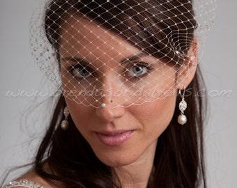 Bandeau Birdcage Veil, Rhinestone and Pearl Accent, Diamond Pattern, Bridal Veil, White, Diamond White, Ivory, Champagne, Black, More Colors