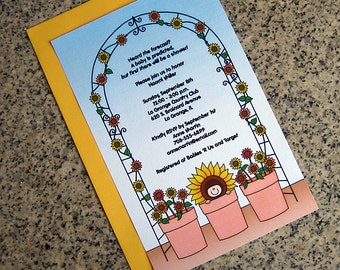 flower pot baby sunflowers baby shower invitations full sized fully custom for either boy girl with envelopes - set of 10