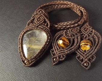 Macrame Necklace, Macrame Pendant, Gold Rutilated Quartz Pendant, Boho Necklace, Dark Brown