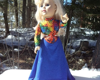 "18"" milti colored doll gown, blue doll gown, spandex gown, floor length doll gown, long sleeved doll gown, attached pantie gown, handmade"