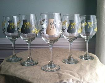 4 Personalized Bride and Bridesmaid Wine Glasses