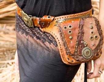 Leather Bag, Hip Belt Bag, Utility Bag, Handmade