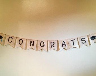 Graduation Party Banner, Congrats Burlap Banner, Congrats Grad Banner, Graduate Burlap Banner