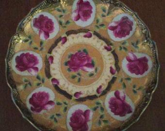 "Antique Moriage Gold Encrusted Porcelain Nippon Cobalt Blue & Hand Painted Magenta Roses 10"" Plate"