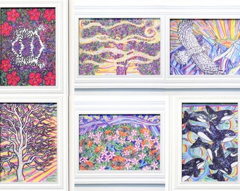 Choose Any 6, Greeting Cards, Eco-friendly, Nature Art, Positive Affirmation, Visualization, Animal Beings, Tree Medicine, Rainbow Warrior