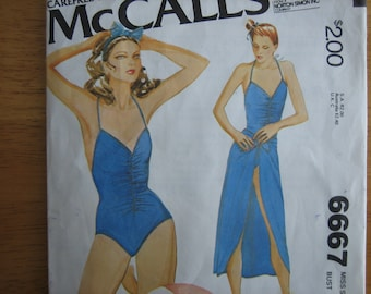 McCALL'S Pattern 6667 Misses' Bathing Suit and Skirt    1979
