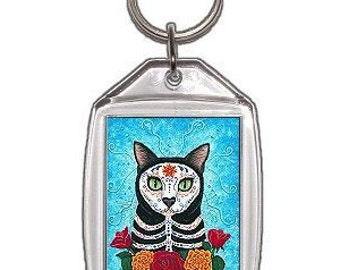 Day of the Dead Cat Keychain Mexican Sugar Skull Cat Gothic Fantasy Cat Art Keychain Keyring Gifts For Cat Lovers