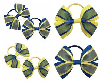 Royal blue and yellow organza hair bows, Girls school uniform hair bows, Thick hair bobbles, thick hair elastics and ties, Organza hair bows