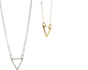 Tiny Triangle Necklace Gold Triangle Necklace Gold filled Gold Triangle Pendant Geometric necklace Minimalist Necklace Layering Necklace