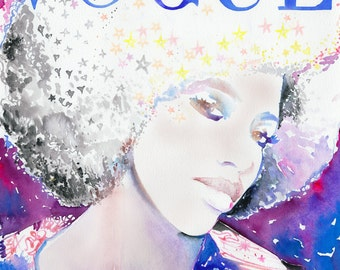 African Vogue Print, Fashion Illustration Print, African Vogue, Vogue Cover Art, Vogue Cover Africa, Watercolor Vogue Cover, Afro, Stars