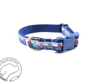 "Sailing the Blue Dog Collar - 3/4"" (19mm) Wide - Martingale Dog Collar or Side Release Buckle - Choice of collar style and size - Sailboat"